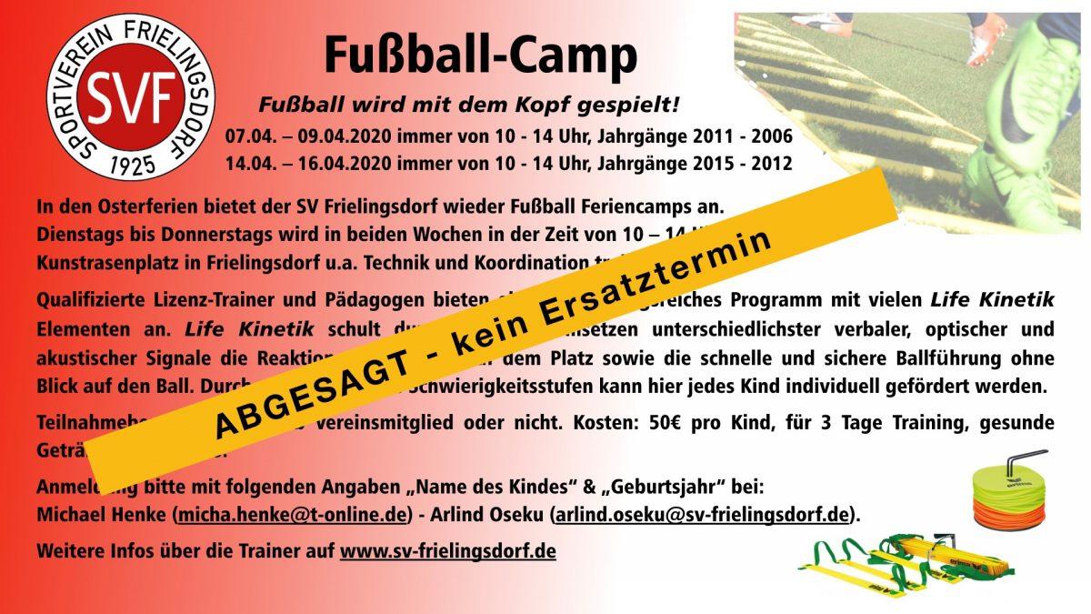 Fußball-Feriencamp des SV Frielingsdorf entfällt!