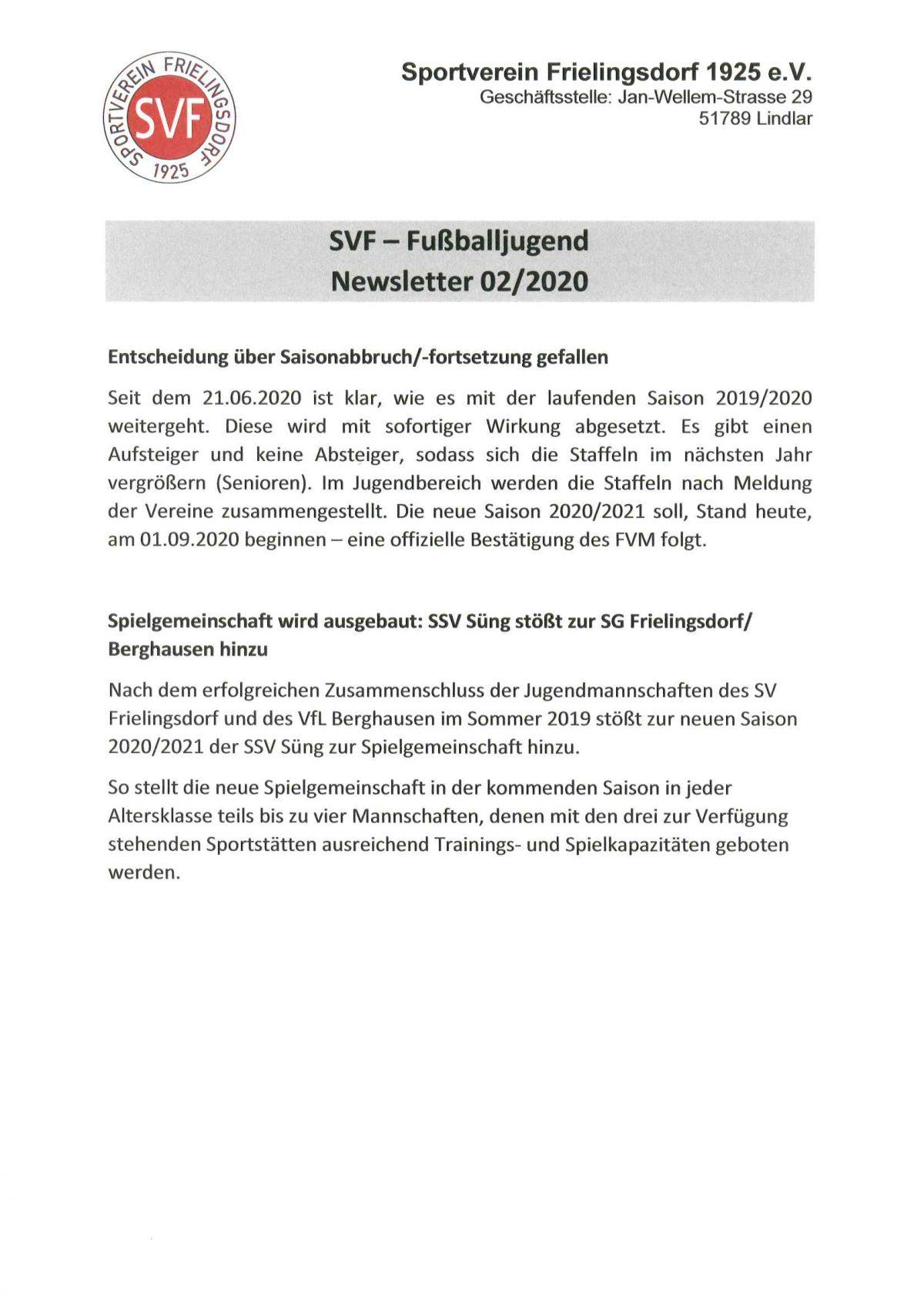 Newsletter 02/2020 der SVF-Fußballjugend