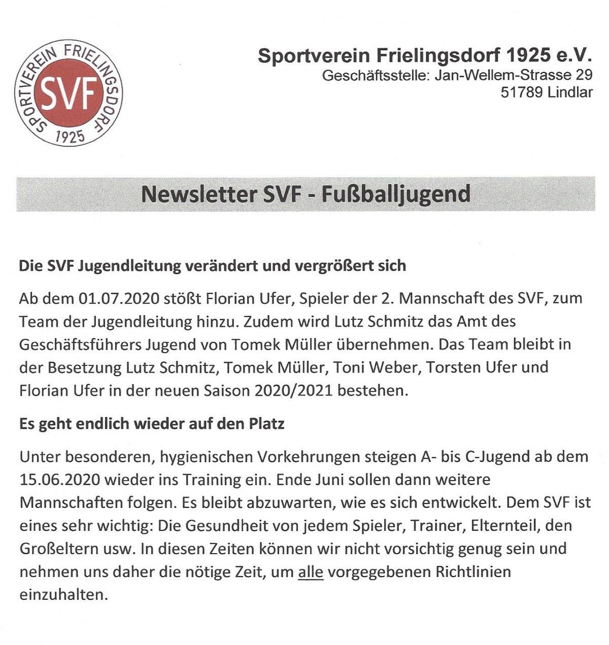 Newsletter SVF-Fußballjugend