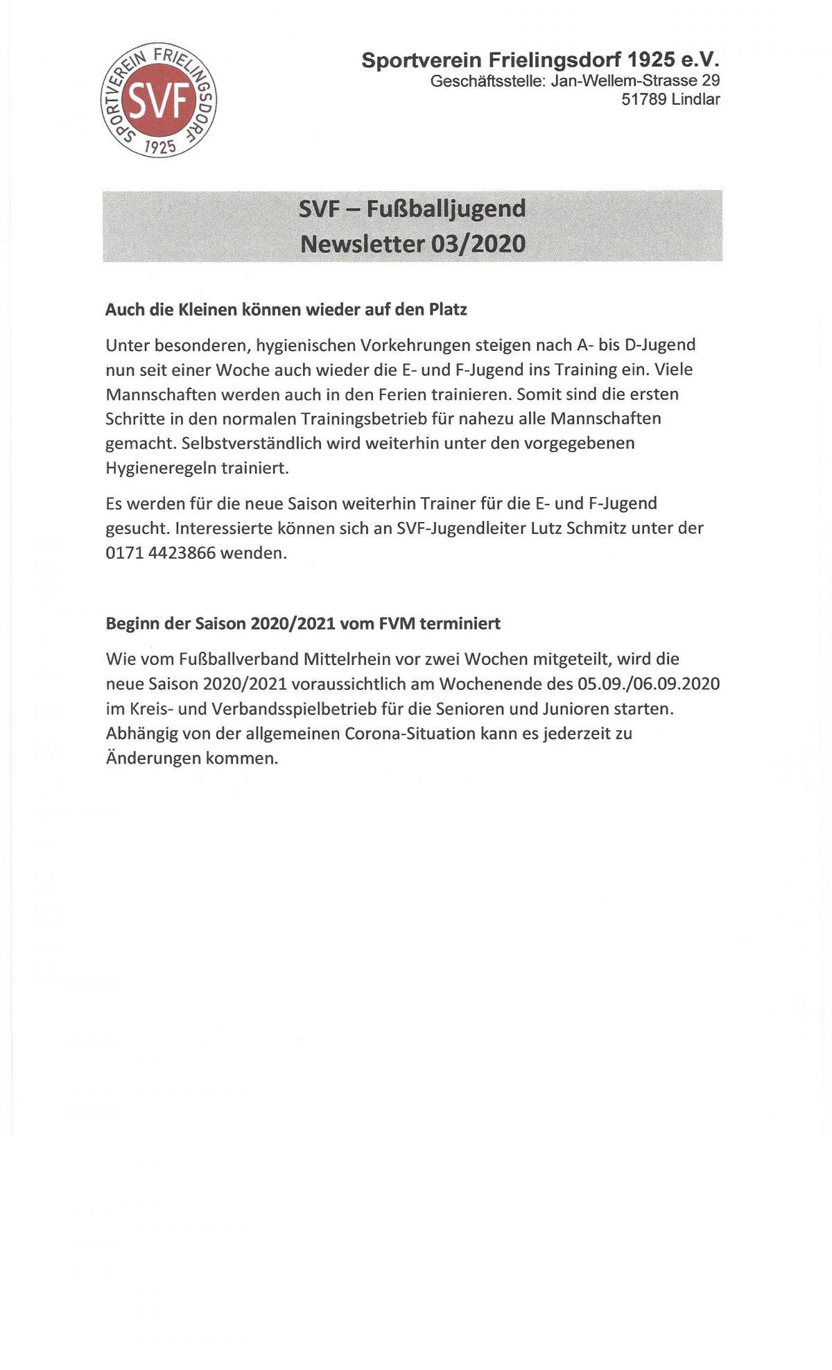 Newsletter 03/2020 der SVF-Fußballjugend